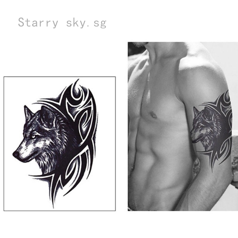 Unique Wolf King Waterproof Temporary Removable Tattoo Body Art Stickers Shopee Singapore