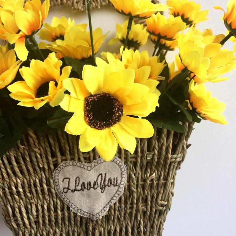Yellow Fake Sunflower Artificial Silk Flower Bouquet Wedding Home Floral Decor
