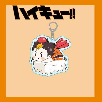 Haikyuu Acrylic Keychain Hinata Shoyo Kageyama Kenma Sushi Cartoon Cute Anime Key Ring Bag Pendant Keyring