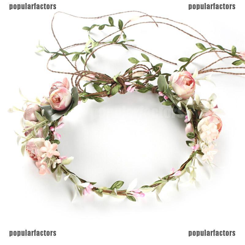 Beach Party Crown Bride Wedding Headband Boho Floral Headdress Flower