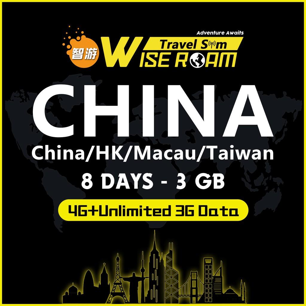 China/Hong Kong/Macau/Taiwan Travel SIM [8 DAYS – 3GB] 4G/3G+Unlimited  Data/Easy to use/No Registration Needed 中港澳台国际漫游卡