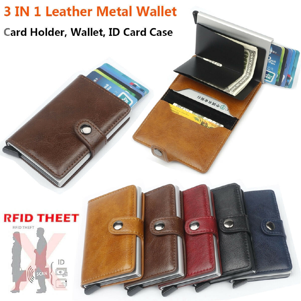 Auto Credit Card Holder Anti Scan Function Leather Metal Wallet Money Clip Men