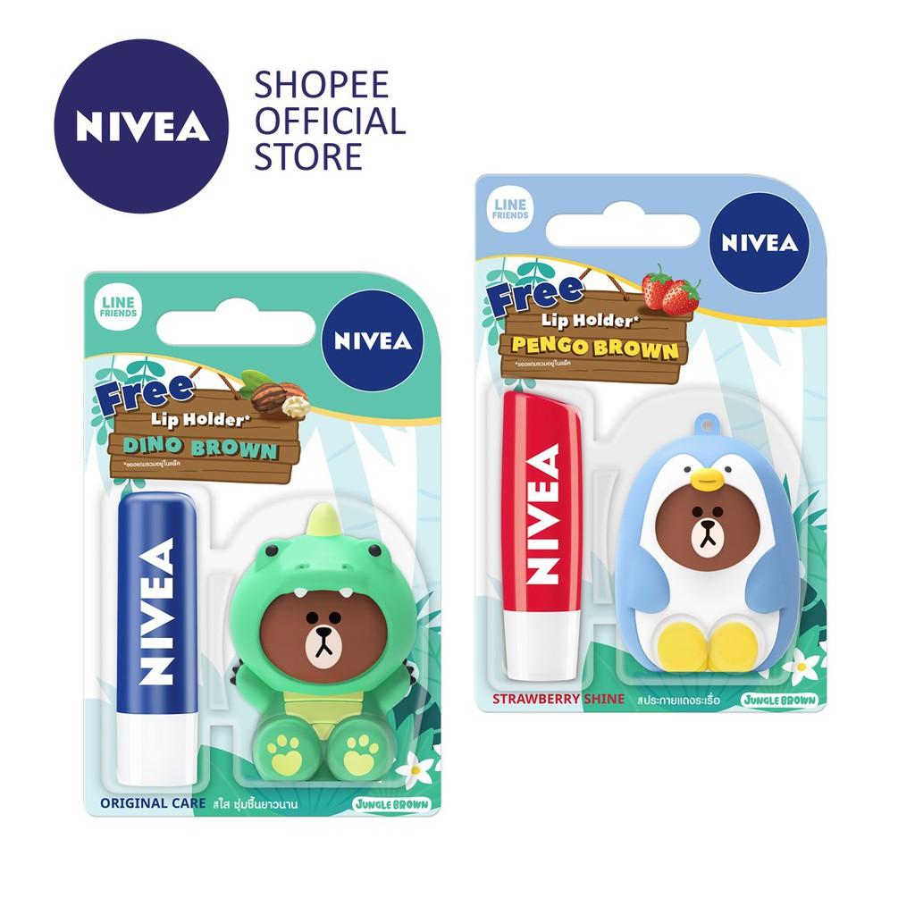 NIVEA Lips (Twin Pack) Line Limited Edition 4 8g - Original + Strawberry  Shine