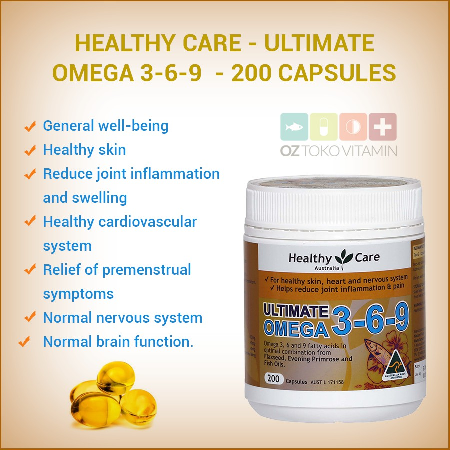 Healthy Care Ultimate Omega 3 6 9 Fish Oil Primrose Flaxseed 200