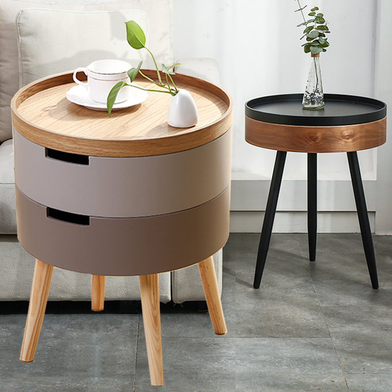 Sofa Side Table Bedside Light Luxury Solid Wood Coffee Table Leisure Balcony Small Round Storage Cabinet Shopee Singapore