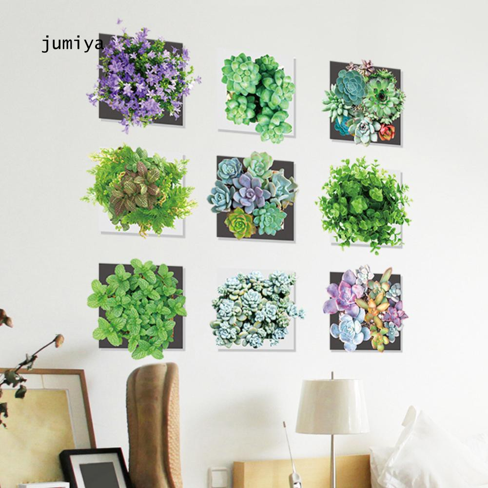 JY_Fresh Succulent Plant Wall Sticker Self Adhesive Living