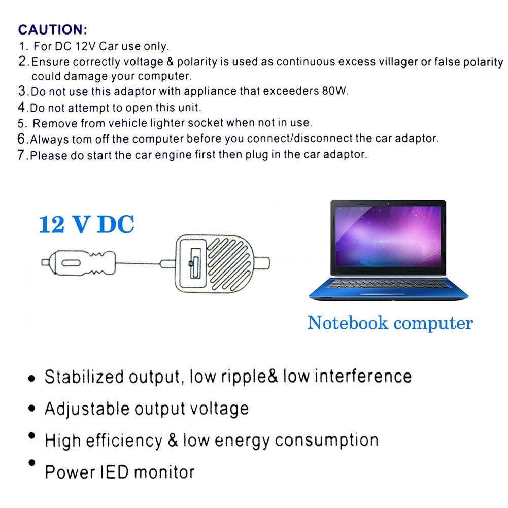Power Supply Car Charger Multi-function Adapter 15-24V 80W DC For IBM  Toshiba BT