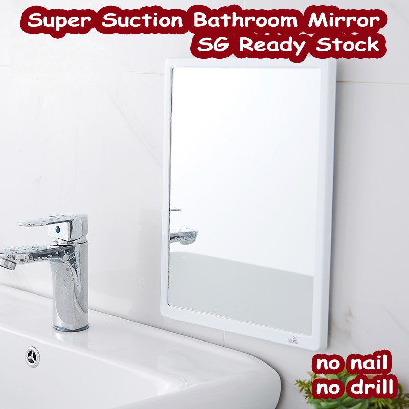 Art Living Sg Stock Suction Type Mirror Square Mirror No Nail No Drill Mirror Bathroom Mirror White Mirror Shopee Singapore