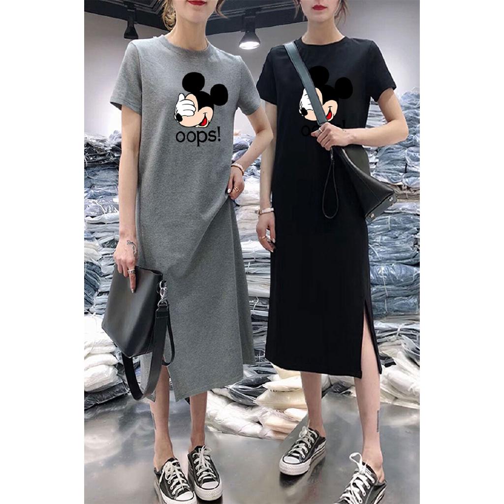 Over Knee Dress Overall Dress Korean Short Sleeve Long T-shirt