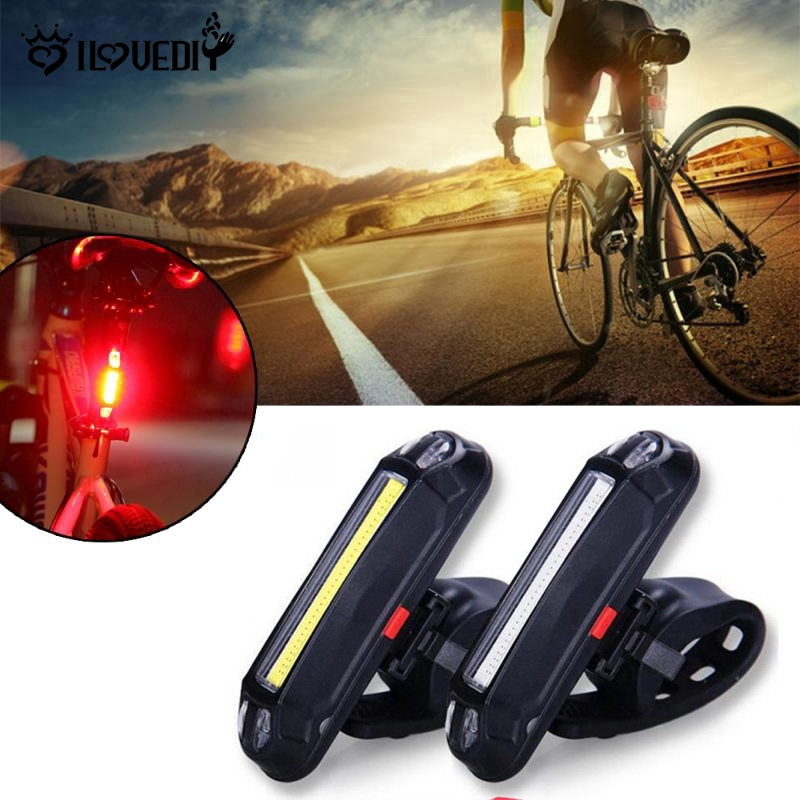 7Mode Bike Front Rear Light USB Rechargeable COB LED Bicycle Warning Tail Lamp