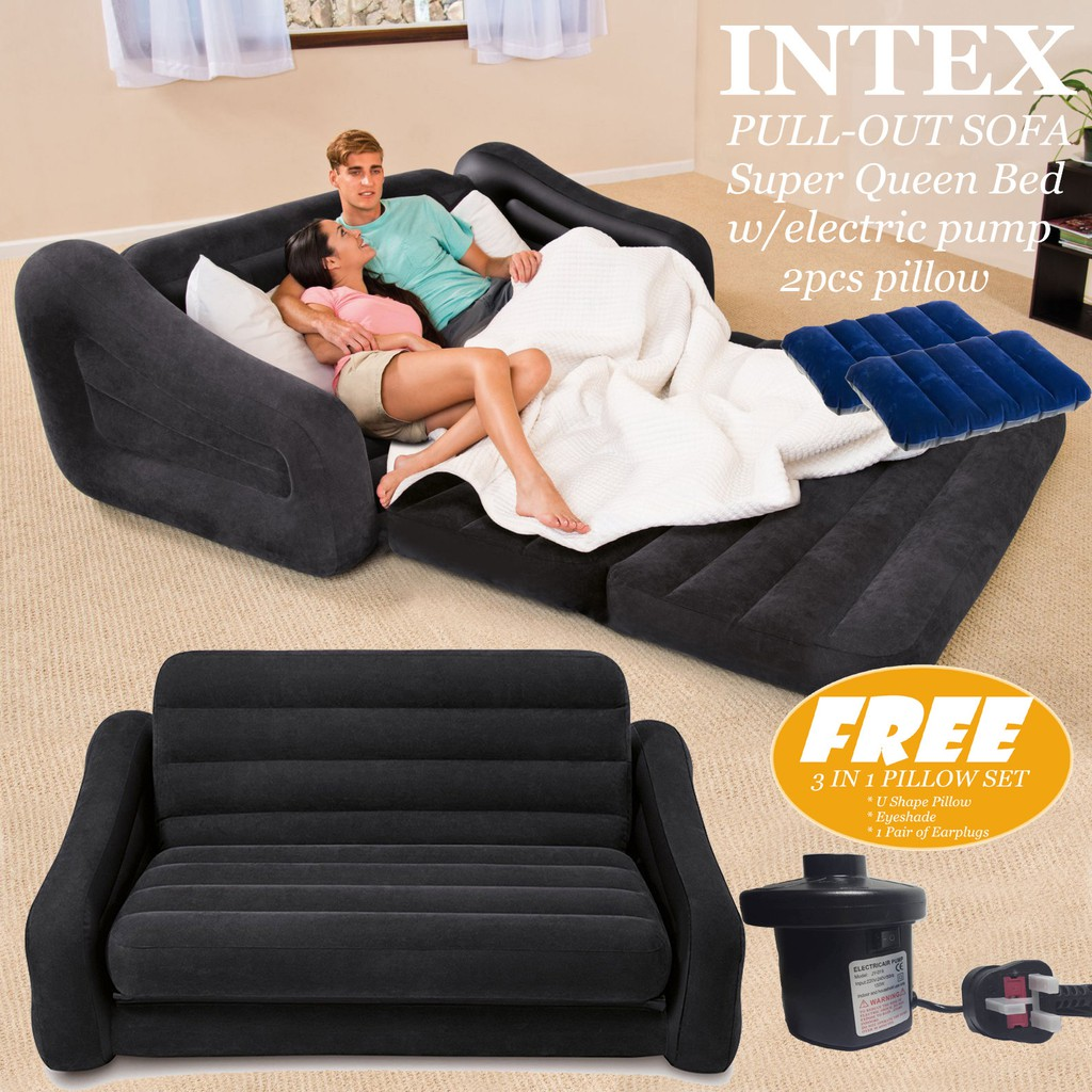 Intex Queen Sleep Sofa Bed Pull Out Sofa Electric Pump Pillow To