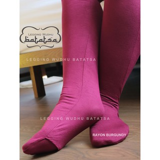 Legging Rayon Burgundy Leging Wudhu Friendly Legging Foot Socks Pants Alas Feet Bs Open Shopee Singapore