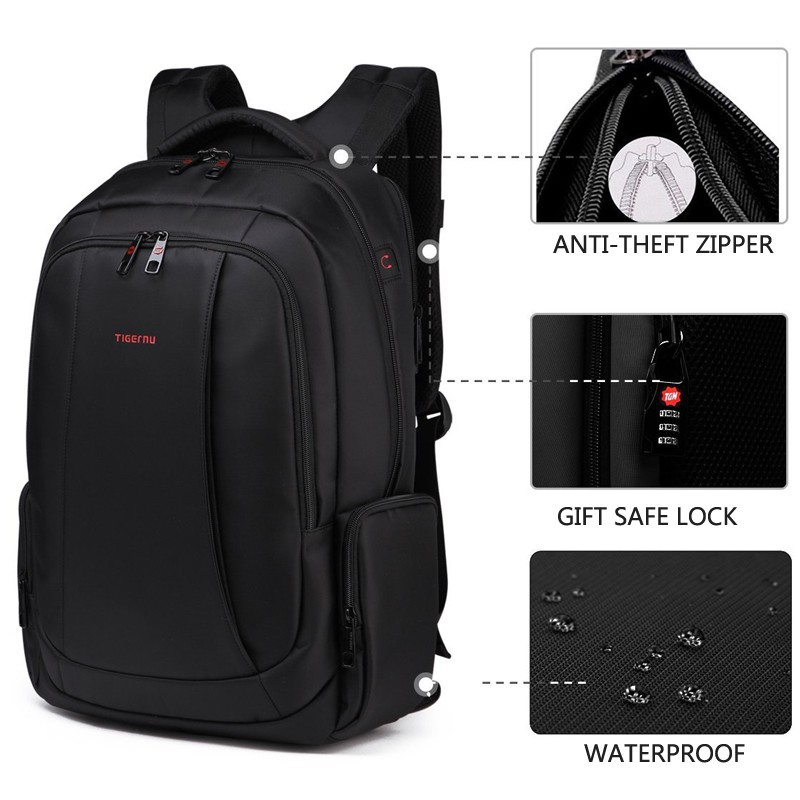 3a5c075a7a64 Tigernu Waterproof Anti-theft Notebook Backpack up to 15.6