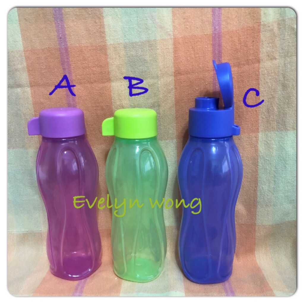 Tupperware-310 ml Eco Water Bottle Set of 2 With Flip topCaps-black