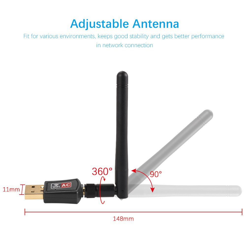 USB Mini Wifi Dongle 600Mbps Wireless Adapter 2 4G/5G 802 11