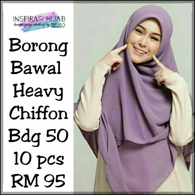 Hot Borong Tudung Bawal Heavy Chiffon Bidang 50 Semi Ironless Shopee Singapore