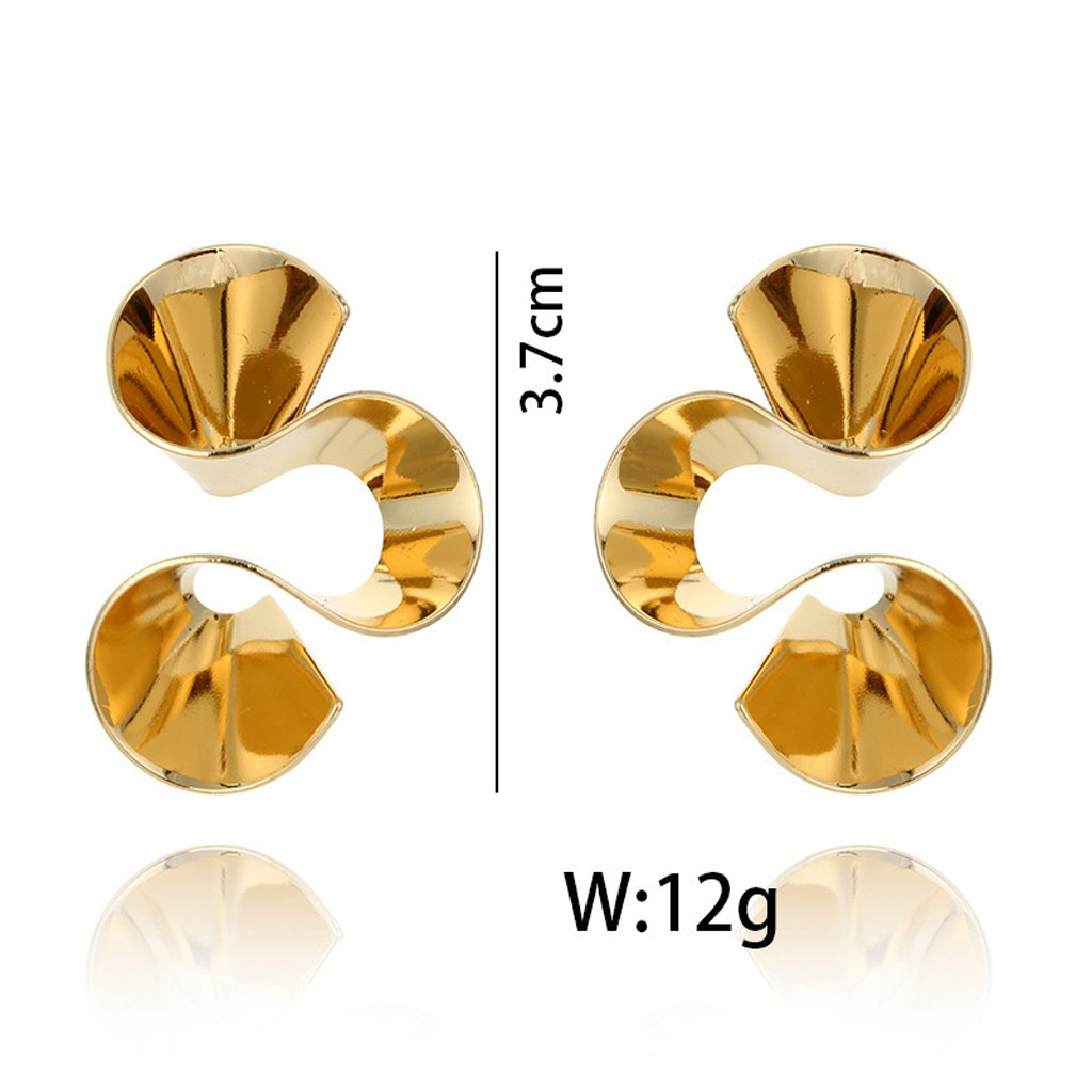 pair Stainless Steel Gold Color Plated Bezel-Set Circle Flower Stud Earrings with Sapphire Glass Stone