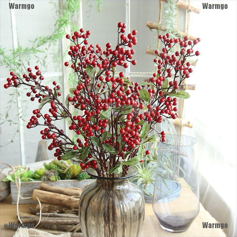 Warmgo 57cm Christmas Red Berry Holly Leaves Branch Artificial Flower Pick Decoration Shopee Singapore