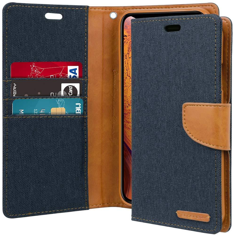 Goospery Canvas Diary Case Iphone Xs 58 X Mercury Samsung Galaxy Core 2 Navy Flip Shopee Singapore