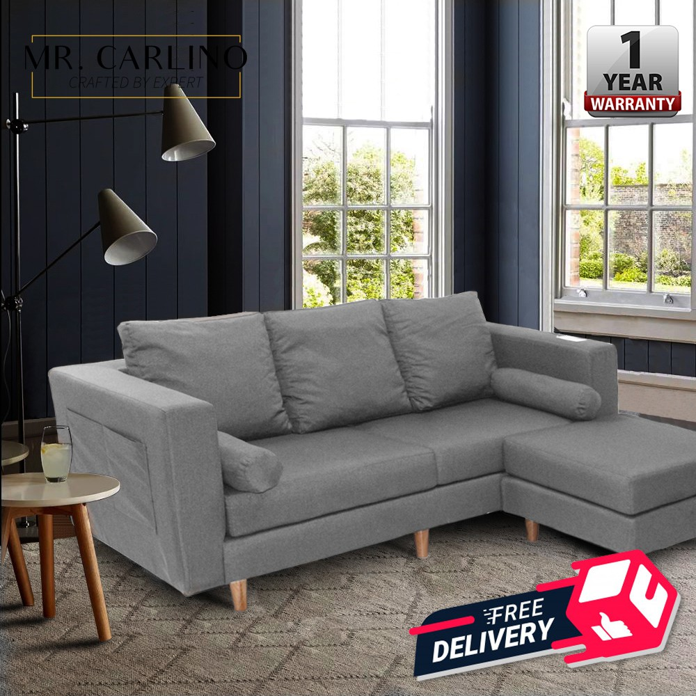 Vargas 3 Seater Canvas Cloth Home Living Room L Shaped Sofa