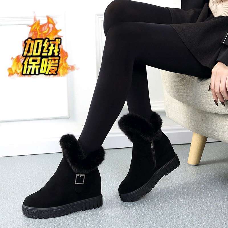 Women Girl Middle Tube Boots Cross-Tied Thick-Soled Anti-Slip Shoes Boots