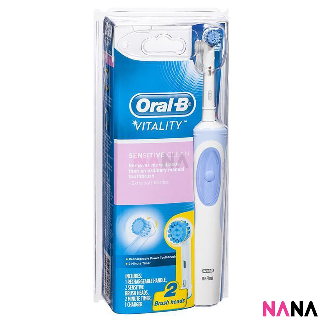 Oral-B Vitality Sensitive Clean Rechargeable Electric Toothbrush 2  Heads+Charger