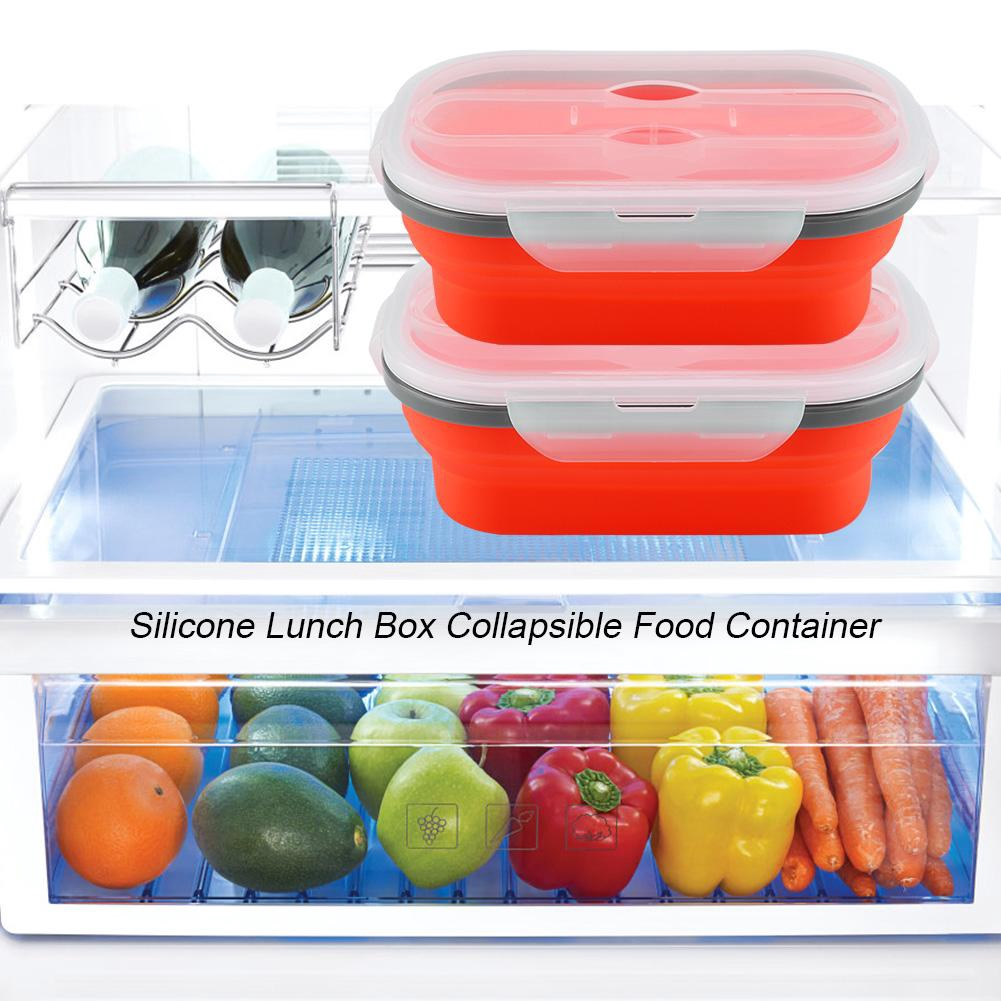 Silicone Food Portable Lunch Box Bowl Bento Boxes Folding Collapsible Storage