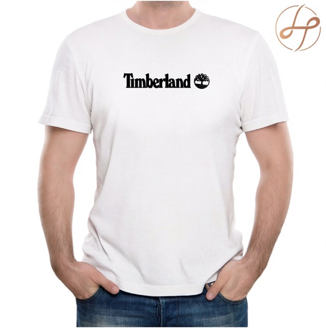 Timberland Retro Plain Small Tree Logo T-shirt Mens Crew Neck Cotton Tee White