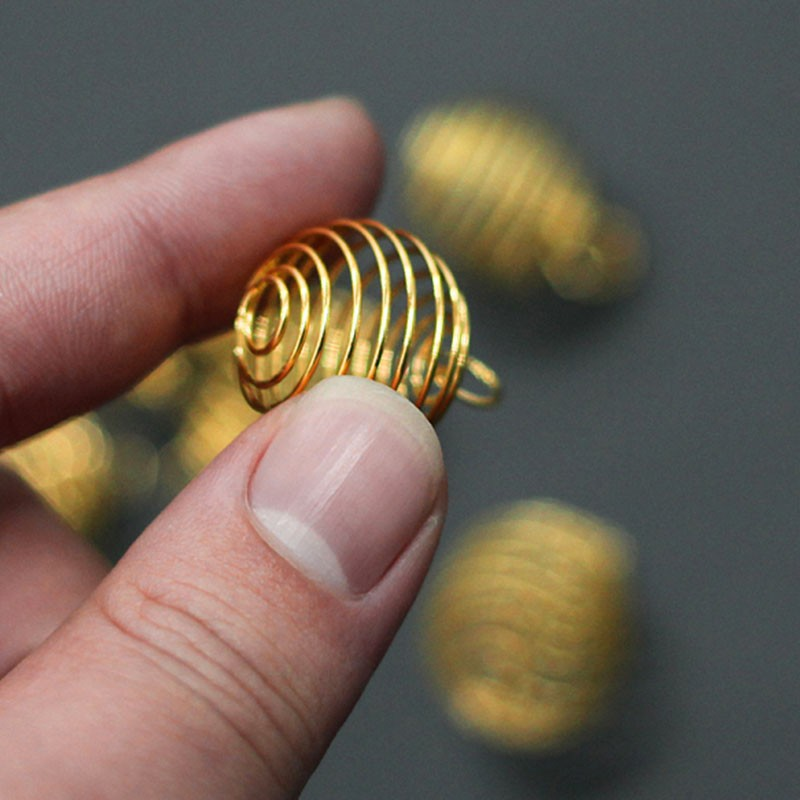 Wholesale 20Pcs Silver//Gold Plated Spiral Bead Cages Pendants 8x9mm