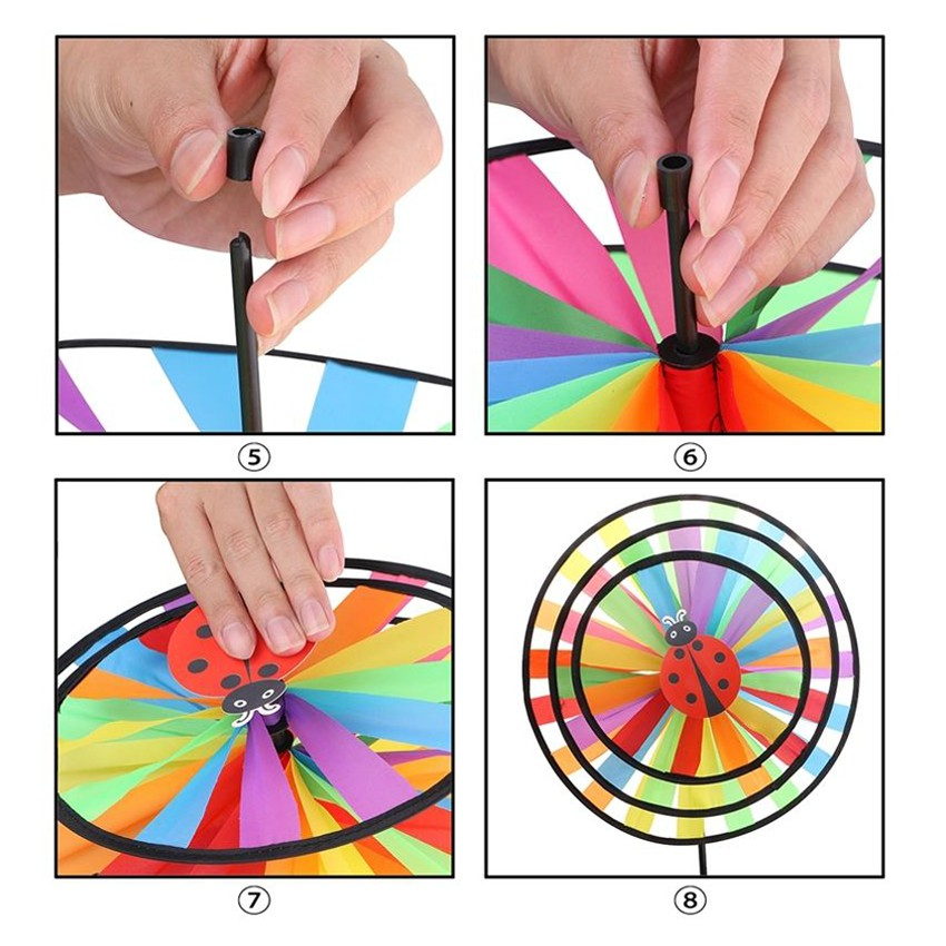 Large Cloth Rainbow Windmill Rotating Wind Spinner Hand-held Children Kids Toy k