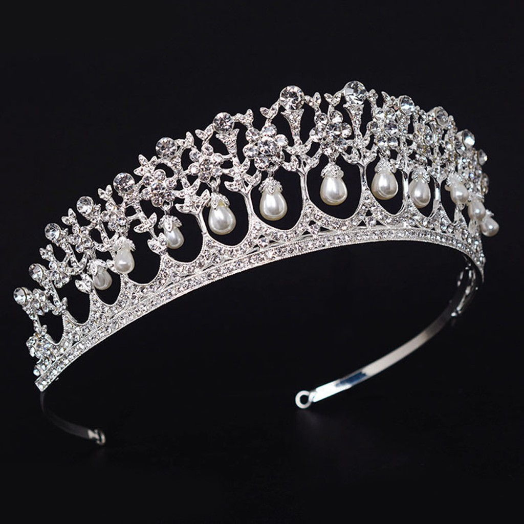 SWEET Vintage Wedding Bridal Crown Silver Rose Tiara Princess Hair Accessories