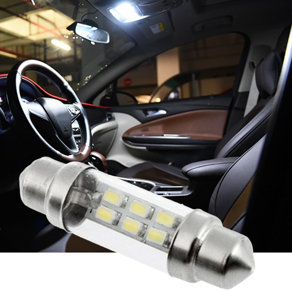 2 Pcs 39MM 38MM 6411 Cree 2 LED Car Interior Festoon Light Canbus Error Free 12V