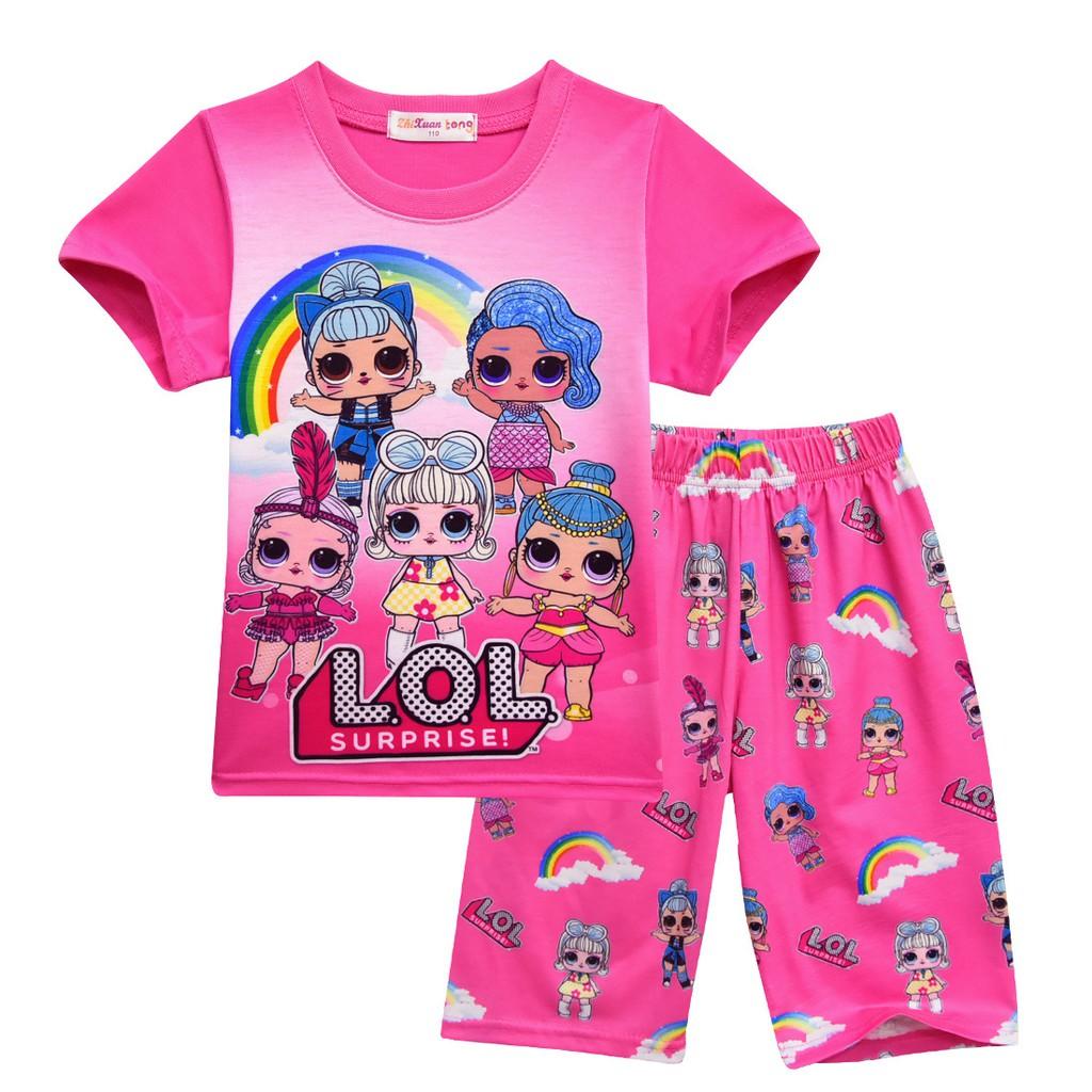 ba958f30ad4c Summer Girls Kids 2Pcs T-Shirt+Shorts Sleepwear Pajamas Set L.O.L ...