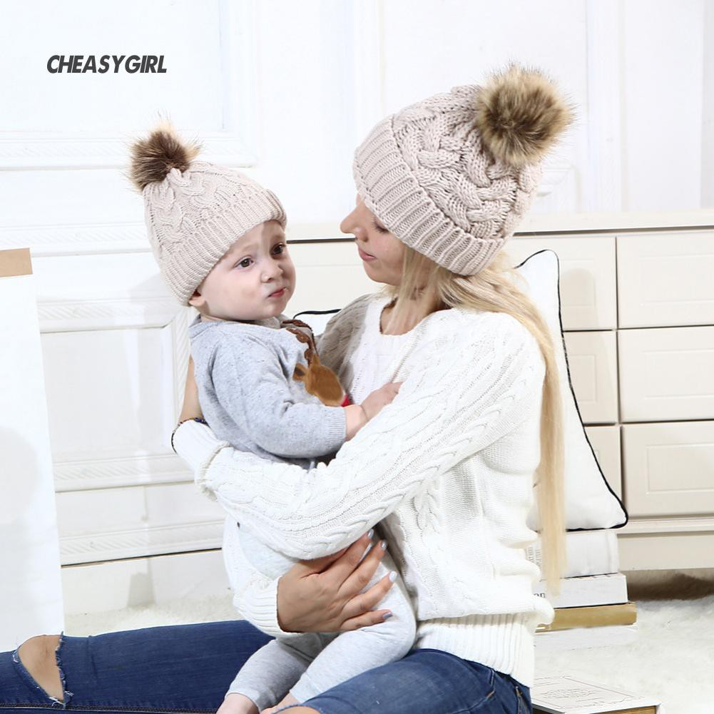 2a36b5bb6 ☆CG Warm Knitted Beanie Hat Color Adult Child Kid Matching Pompom ...