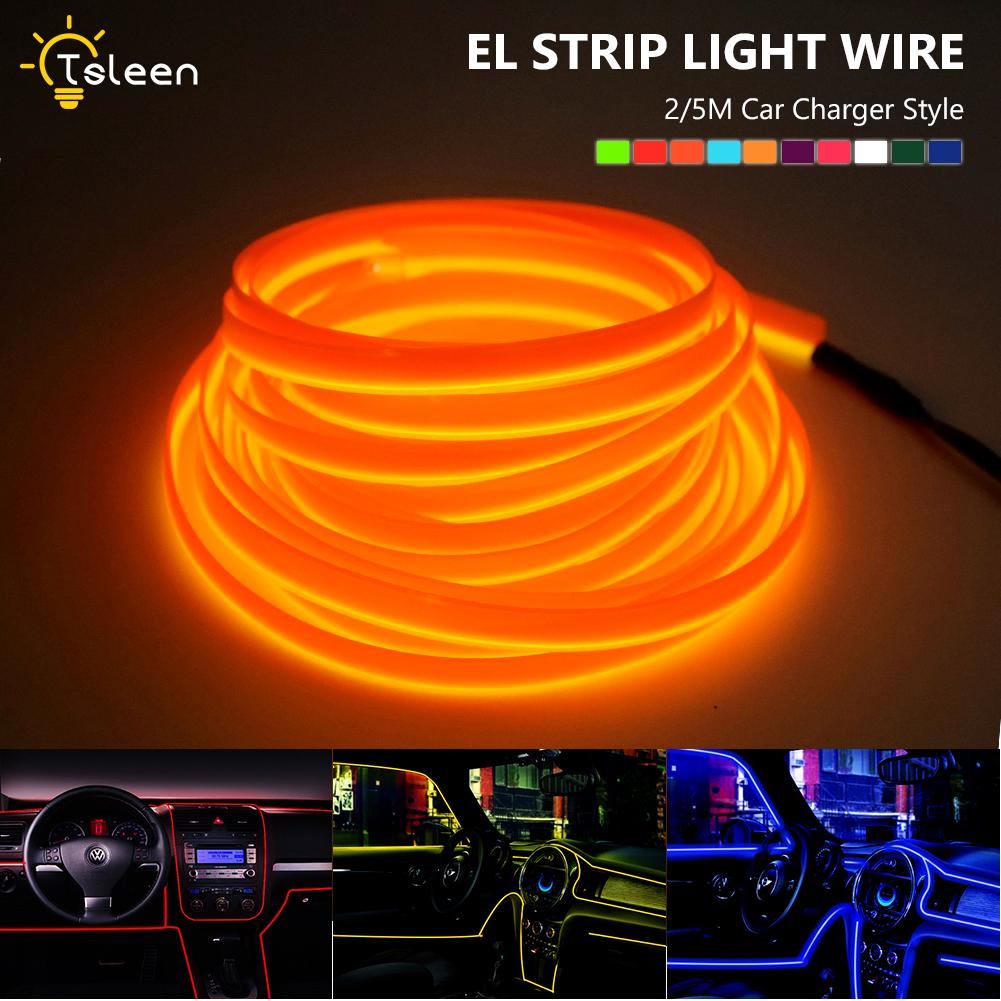 Flat EL Wire Neon Light Strip 5m With Power Inverter For Car Interior Neon Light Wiring on