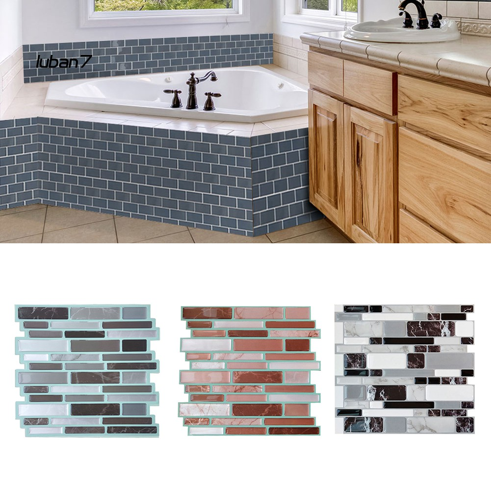 Lb7ꙋself Adhesive Backsplash Waterproof 3d Epoxy Tile Sticker Diy House Wall Decor Shopee Singapore