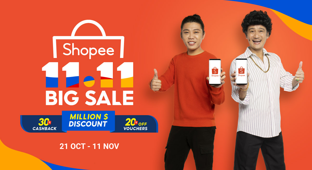 Enjoy Million $ Discount deals, 30% cashback and 20% OFF shopping vouchers on Shopee Singapore's 11.11 big sale 2020!