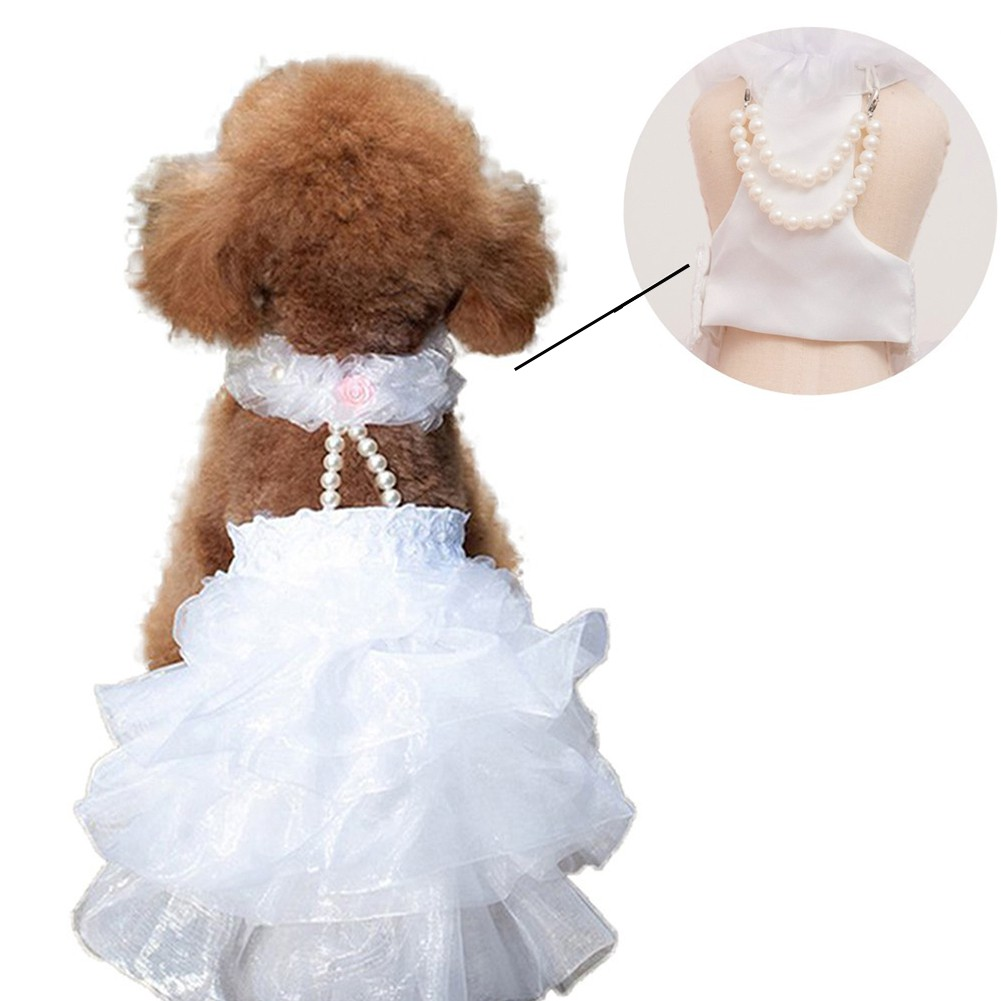 LIULIU Dog Wedding Dress Bride Outfit with Pearl Necklace ...