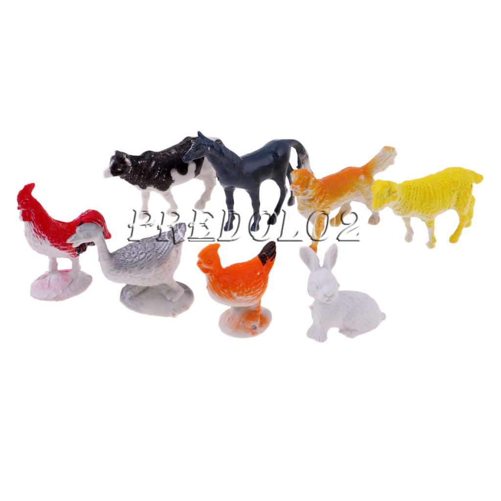 8x Farm Animals Models Figure Set Toys Plastic Simulation Horse Dog Kids GiftLD