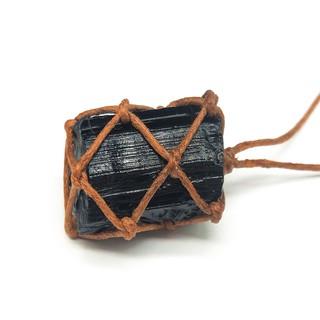 CDD❥Natural Black Tourmaline Retro Raw Gemstone Pendant