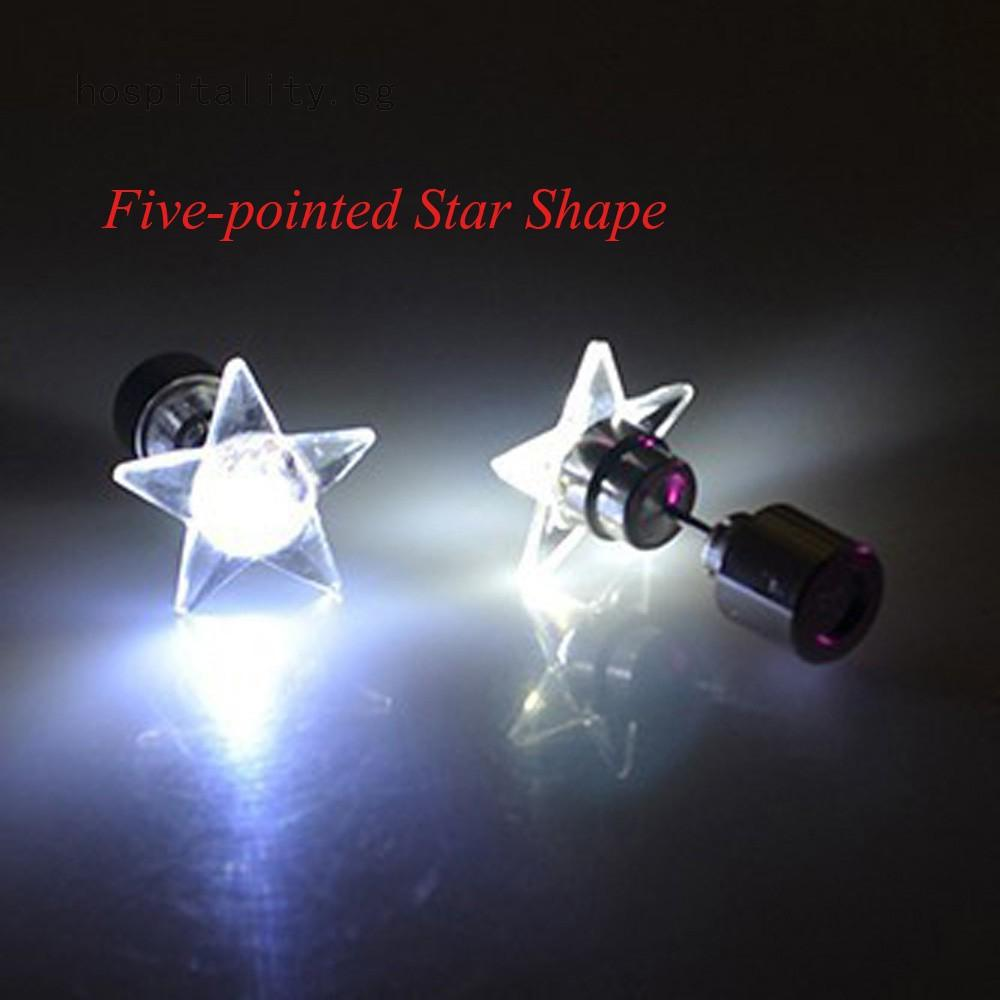 Charm Led Earring Light Up Bright Stud Earrings Luminous Star Glowing Crystal Stainless Ear For Dj Dance Party Bar