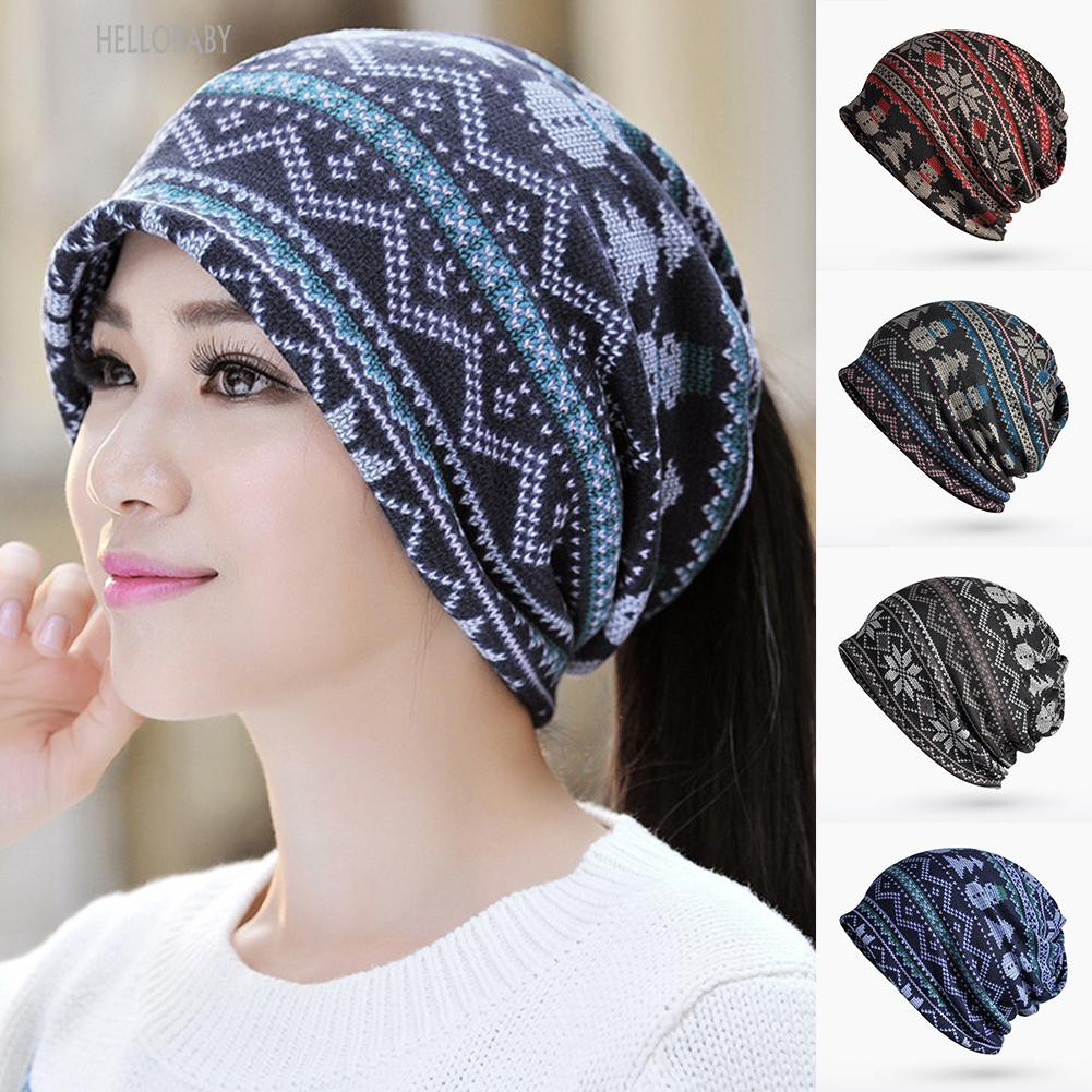 4cb77765ed9 COD🍓Snowflake Print Unisex Casual Winter Hat Scarf Dual-use Pony Tail  Slouchy Beanie