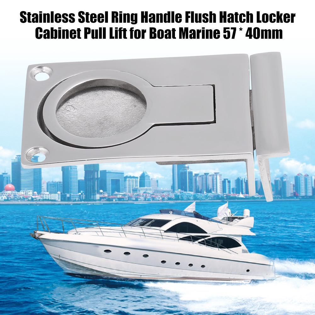 New Boat Marine Ring Handle Flush Hatch Locker Cabinet Pull Lift Stainless Steel