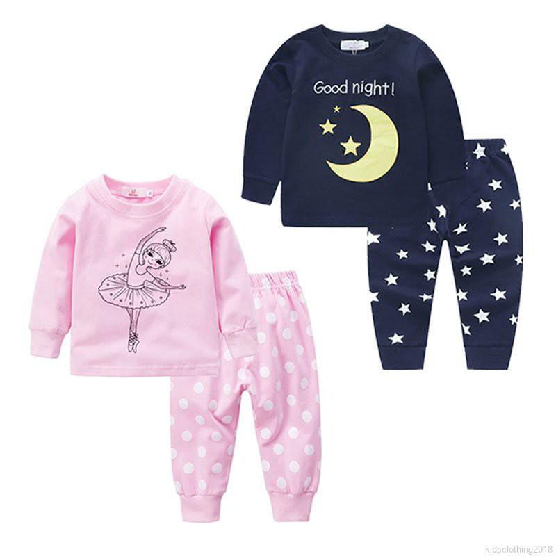 Pants Children Autumn Outfits 2-Piece Pajama Set Baby Girl Boy Clothes Winter Long Sleeve Tops