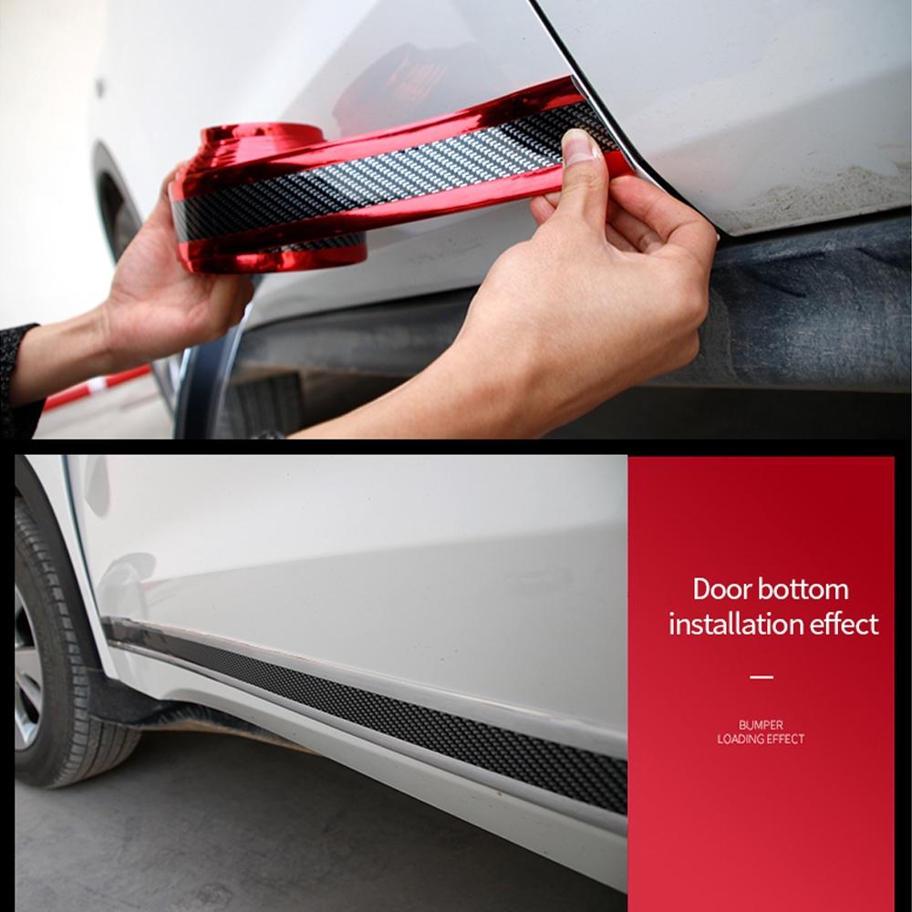 3D Sticker Carbon Fiber Vinyl Deco Cover Car Door Sill Blue Scratch Protect HK K
