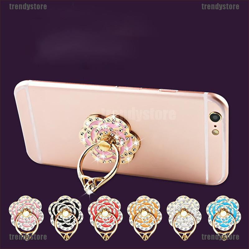 [Trendystore]Universal Phone Diamond Rose Flower Finger Ring Holder For  Phone