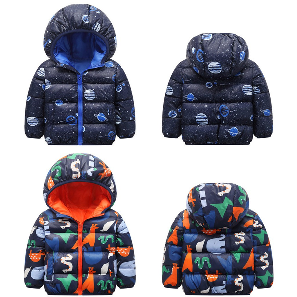 Kids Baby Boys Cartoon Dinosaur Warm Hooded Zip Jacket Coat Windproof for Toddler Casual Light Outwear