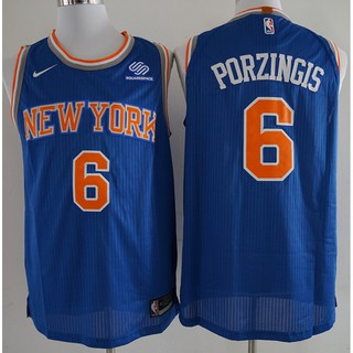 the latest 6c1c4 7f97b NIKE NBA New York Knicks Kristaps Porzingis #6 blue ...