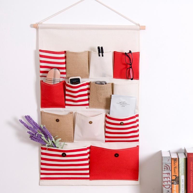 Pocket Wall Hanging Organizer Bag Linen Stripe Multi Layer Practical Storage Box