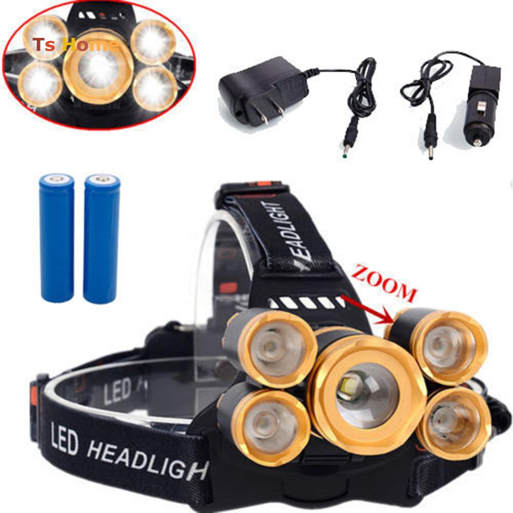 Tactical Rechargeable Zoomable 80000LM 3 Modes T6 LED 18650 Head lamp Headlight